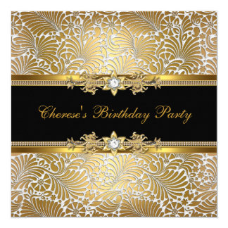 Birthday Party Damask Gold Black White Diamond 13 Cm X 13 Cm Square Invitation Card