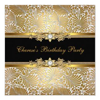 Birthday Party Damask Gold Black White Diamond Card