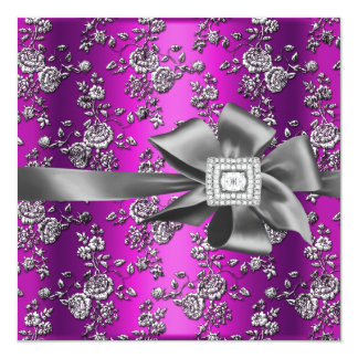 Birthday Party Damask Magenta Pink Silver 13 Cm X 13 Cm Square Invitation Card