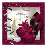 Birthday Party Damask Pink Red Shoes Cream 2 13 Cm X 13 Cm Square Invitation Card