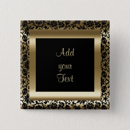 Maid Of Honour Black Gold Glitter Typography Name 15 Cm Square Badge