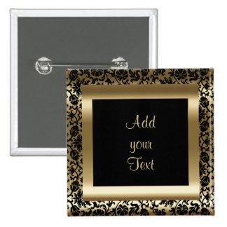 Birthday Party   DIY Text   Black Gold 15 Cm Square Badge