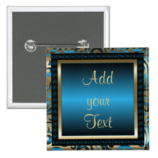 Birthday Party | DIY Text | Blue 15 Cm Square Badge