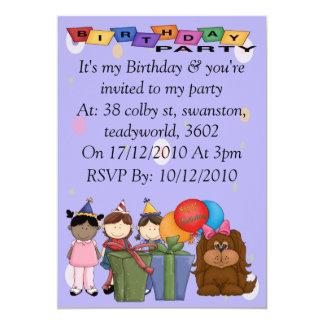 Birthday Party Dog 13 Cm X 18 Cm Invitation Card