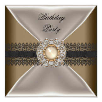 Birthday Party Elegant Coffee Brown Jewel Black 13 Cm X 13 Cm Square Invitation Card