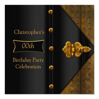 Birthday Party Elegant Gold Black Metal Look 2 13 Cm X 13 Cm Square Invitation Card