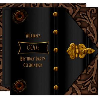 Birthday Party Elegant Gold Black Steampunk Card