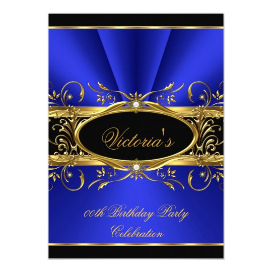 Birthday Party Elegant Royal Blue Gold Black Card