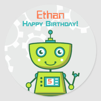 Birthday Party Favor Sticker | Green Robot