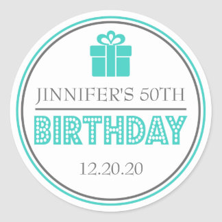 Birthday Party Favor Stickers (Teal / Gray)
