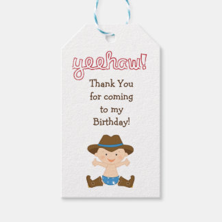 Birthday Party Favour or Gift Tag- Cowboy