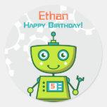 Birthday Party Favour Sticker | Robot Theme