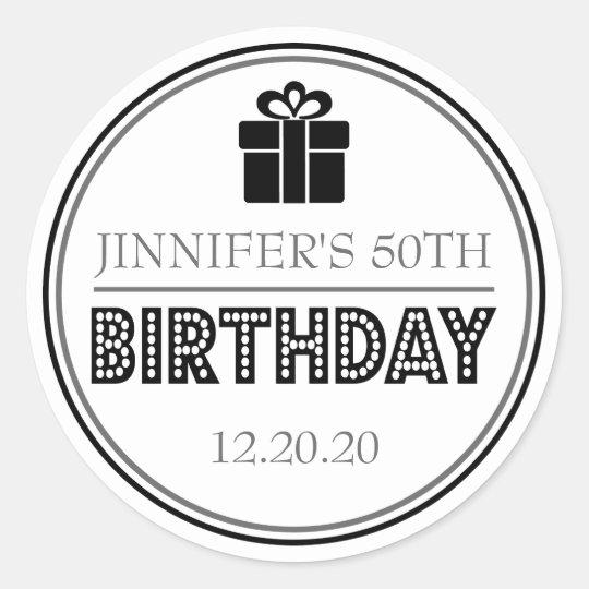 Birthday Party Favour Stickers (Black / Grey)