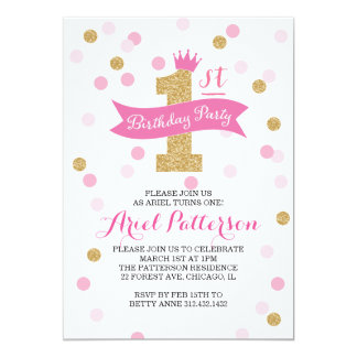 Birthday Party | First Birthday Princess 13 Cm X 18 Cm Invitation Card
