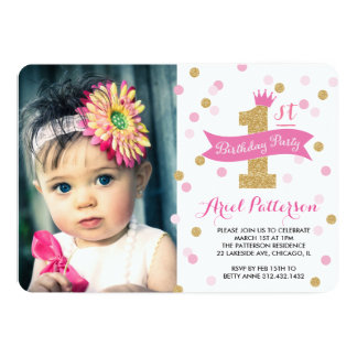 Birthday Party | First Birthday Princess Photo 13 Cm X 18 Cm Invitation Card