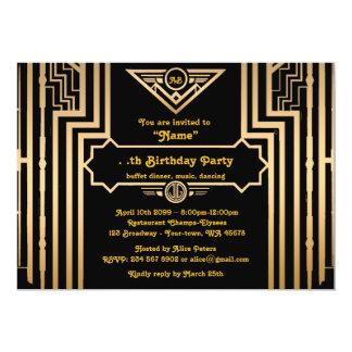 Birthday Party, Gatsby style, Art-Deco, gold&black 13 Cm X 18 Cm Invitation Card