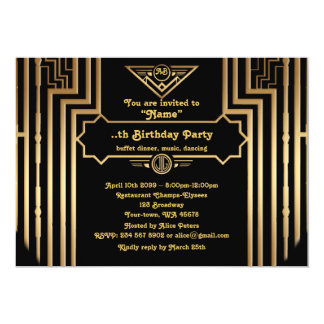 Birthday Party, Gatsby style, Art-Deco,gold black Card