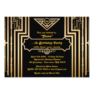 Birthday Party, Gatsby style, Art-Deco, gold&black Card