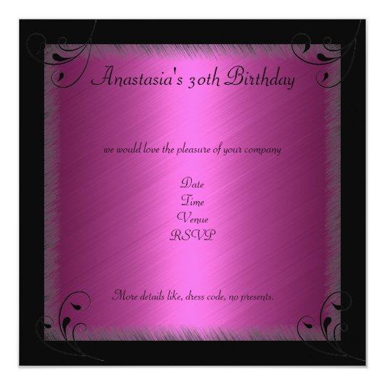 Birthday Party Glamour Hot fuchsia Black Floral Card