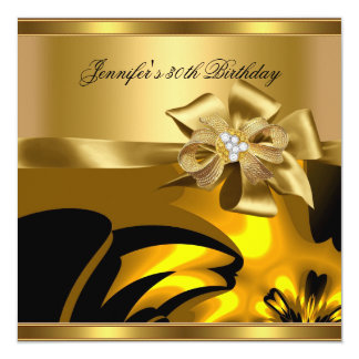 Birthday Party Gold Abstract Diamond Jewel Card