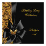 Birthday Party Gold Cheetah Black Butterfly Custom Invitation