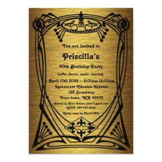 Birthday Party, gold Gatsby style, free recipient Card