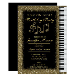 Birthday Party Gold Glitter Piano Card