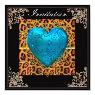 Birthday Party Gold leopard Black Blue Heart 13 Cm X 13 Cm Square Invitation Card