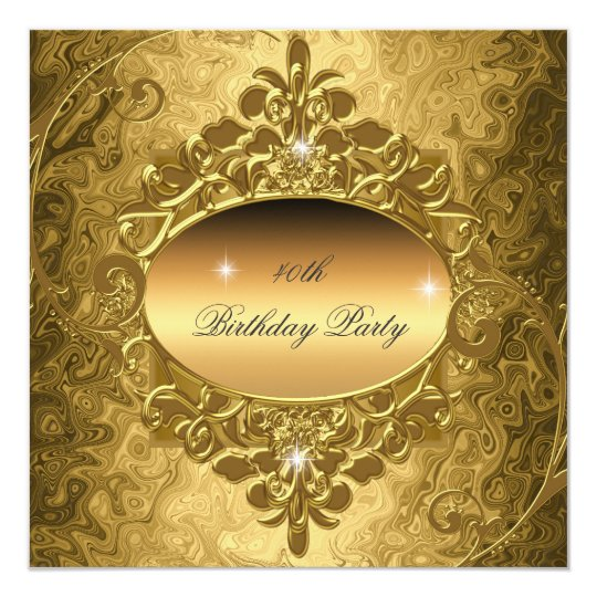 Birthday Party Gold On Gold Metal Glitter Card