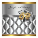 Birthday Party Gold Tile Trim Silver Grey Diamond Personalised Invitations