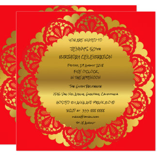 Birthday Party Golden Red Wine Lace Glam 13 Cm X 13 Cm Square Invitation Card
