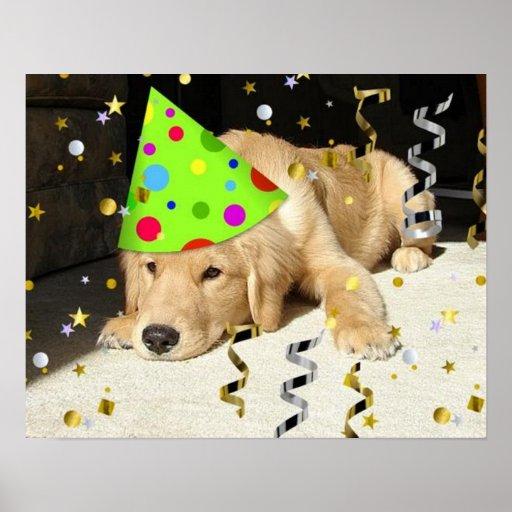 Birthday Party Golden Retriever Posters
