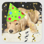 Birthday Party Golden Retriever Square Sticker