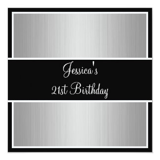 Birthday Party Grey Fine Stripes Black & White 13 Cm X 13 Cm Square Invitation Card