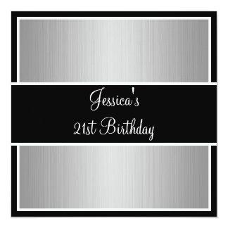 Birthday Party Grey Fine Stripes Black & White 13 Cm X 13 Cm Square Invitation Card