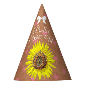 Birthday Party Hat Brown  Yellow Sunflower Themed