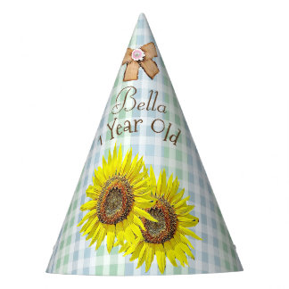 Birthday Party Hat Green Yellow Sunflower Themed