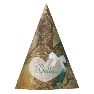 Birthday Party Hat Peacock Turquoise Bow Vintage