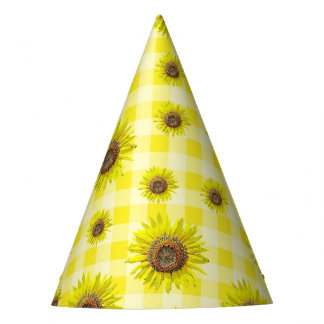 Birthday Party Hat Yellow Gingham Sunflower Themed