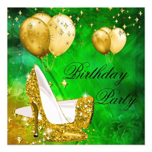 Birthday Party High Heels Lime Green Gold 2 Personalized Invites