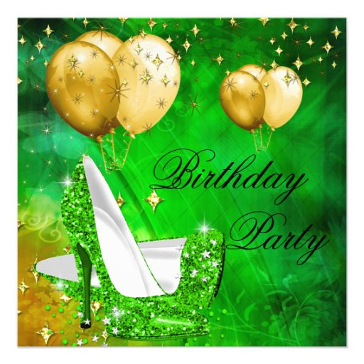 Birthday Party High Heels Lime Green Gold Personalized Invites
