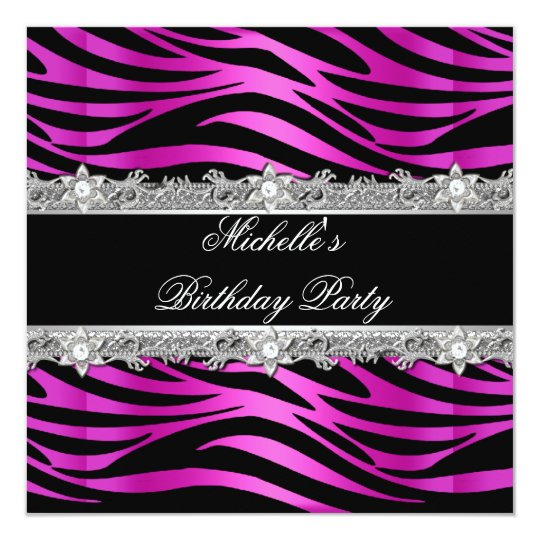 Birthday Party Hot Pink Silver Zebra Diamond Black Card