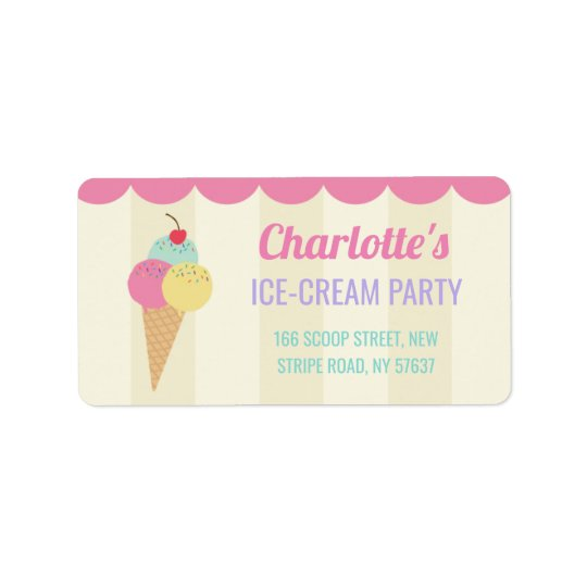 Birthday Party Ice-Cream Parlour Address Labels