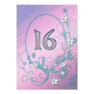 Birthday party invitation 16 years old