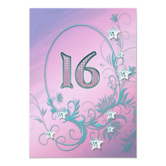 "Birthday party invitation 16 years old 5"" x 7"" invitation card"