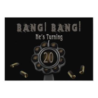 BIRTHDAY PARTY INVITATION - 20TH - BANG Pewter