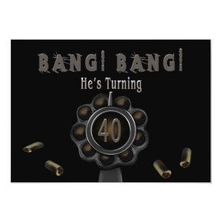 BIRTHDAY PARTY INVITATION - 40TH - BANG Pewter