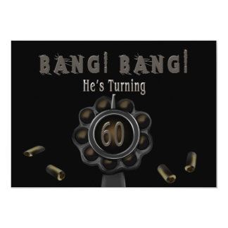 BIRTHDAY PARTY INVITATION - 60TH - BANG! - Pewter
