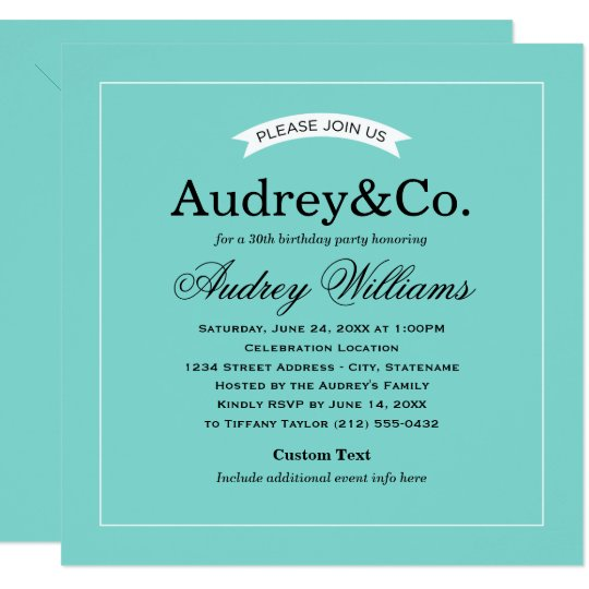 Birthday Party Invitation | Aqua Blue
