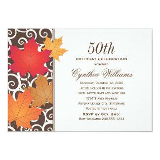 "Birthday Party Invitation | Autumn Fall Theme 5"" X 7"" Invitation Card"